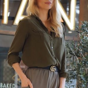NEW Ecru 100% Silk Olive Green Button Down Blouse